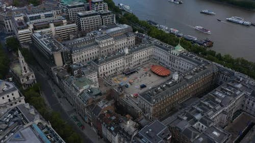 Aerial Footage of Historic Building of Kings College Campus and Somerset House