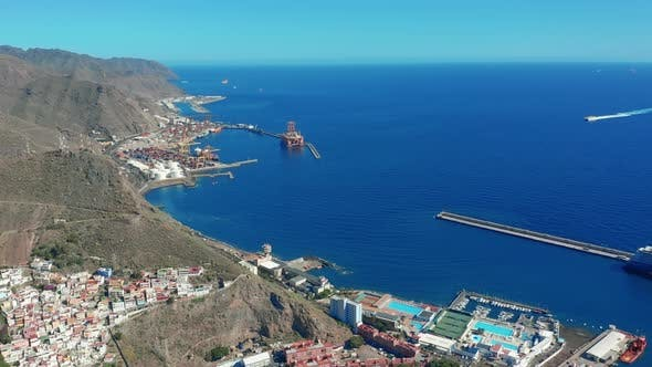 Aerial View. Santa Cruz De Tenerife. Panoramic View at City of Santa Cruz De Tenerife.