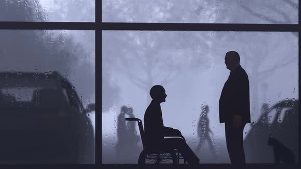 Thumbnail for Disabled Man and His Friend Talking on Windowsill
