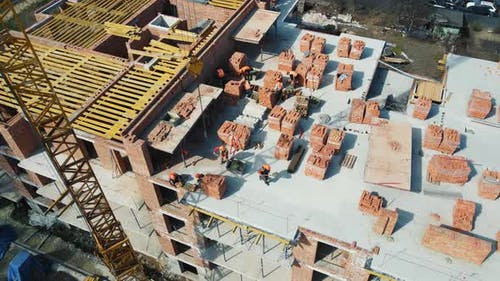 Flight Over the Construction of a Multistorey Building