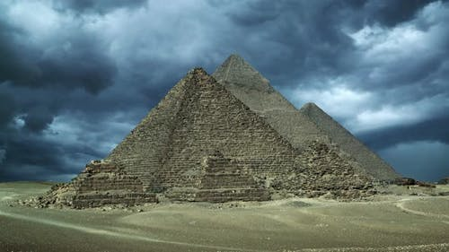 Timelapse with Storm Clouds Over Great Pyramids at Giza Cairo in Egypt