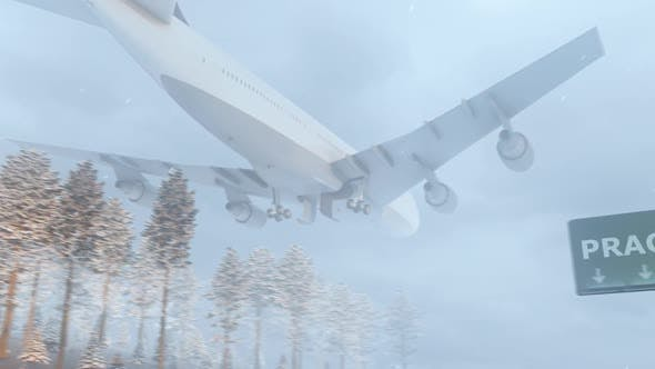 Thumbnail for Airplane Arrives to Prague In Snowy Winter