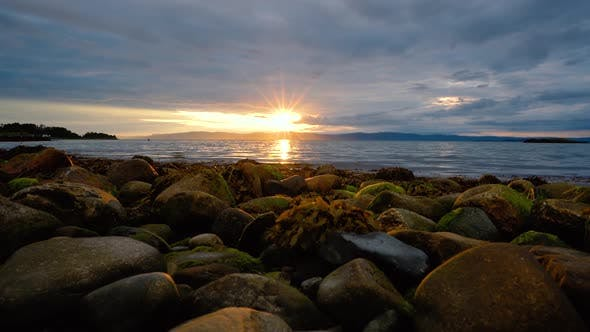 Thumbnail for Sunset Over the Sea in Norway Over the Arctic Coast of Norway