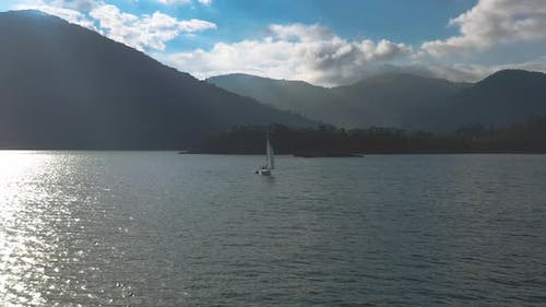 Drone Aerial video - Drone approaching on sailboat