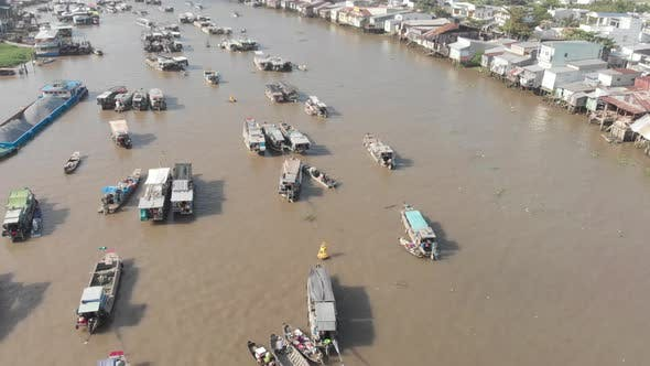 Thumbnail for Aerial: flying over Cai Rang floating market on the river, Can Tho, Vietnam