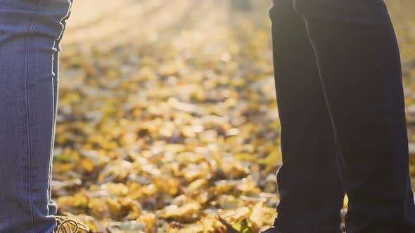 Thumbnail for Freund und Freundin stehend im Wald und Hand halten