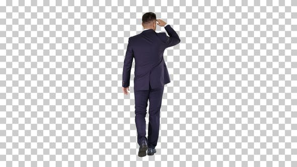 Thumbnail for Businessman Walking and Looking Far Away, Alpha Channel