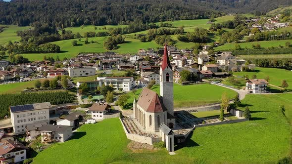 Thumbnail for A Bird's-eye View of the Church and the Valley Near the Village of Velturno