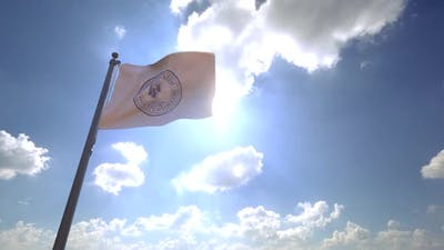 Yonkers City Flag (New York) on a Flagpole V4