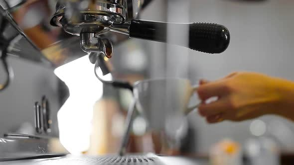 Thumbnail for Footage of Pouring Coffee Stream From Professional Machine in Cup