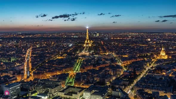 4K Timelapse Sequence of Paris, France - The city of Paris from Day to Night
