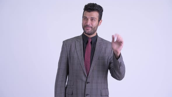 Thumbnail for Happy Bearded Persian Businessman Waving Hand