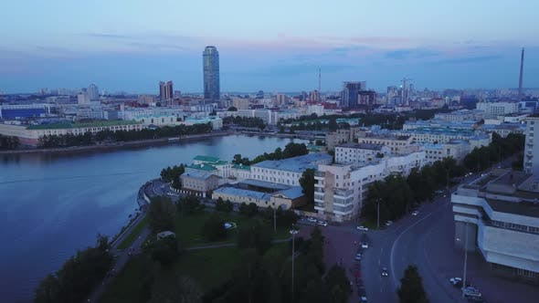 Beautiful city with a Visotsky skyscraper