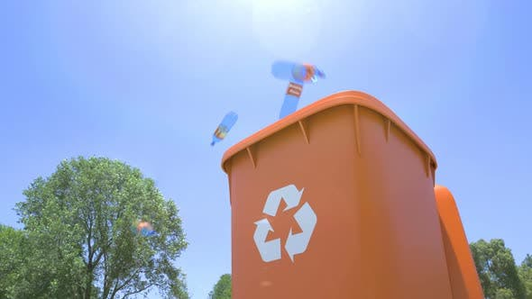 Thumbnail for Plastic Bottles Are Thrown and Falling Into Plastic Garbage Waste Bin