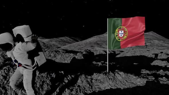 Thumbnail for Astronaut Planting Portugal Flag on the Moon