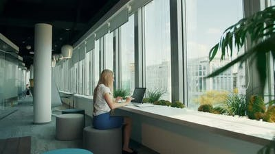 Businesswoman Working with Laptop in New Office