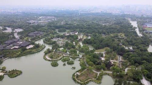Aerial Yangzhou Park, Jiangsu