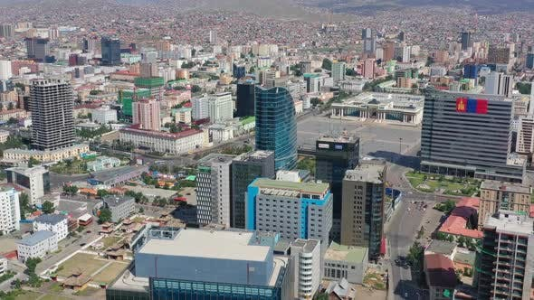 Aerial View of Center of Ulaanbaatar , Mongolia