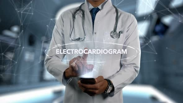 Electrocardiogram Male Doctor Hologram Treatment Word