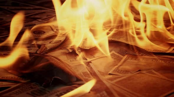 Burning of American Hundred Dollar Banknotes