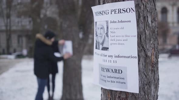 Thumbnail for Close-up of Missing Person Ad with Information About Lost Senior Caucasian Man