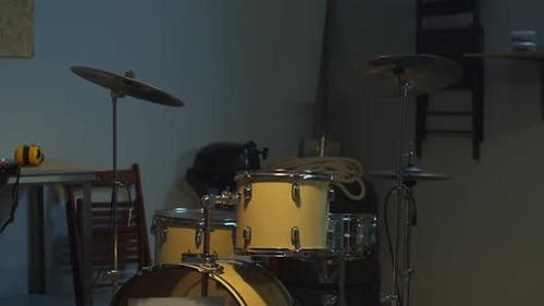 Musical Instruments. Guitar and Drums. View