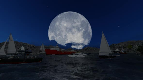 Thumbnail for The sailing ship is sailing on the full moon