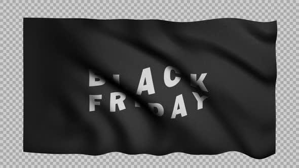 Waving Black Friday Flag Loop