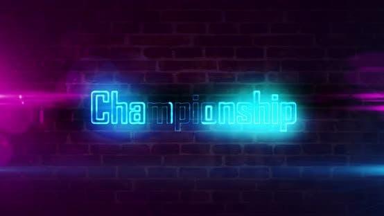 Championship esport game neon on brick wall