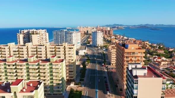 Thumbnail for Aerial View. Panoramic View of Streets, Roads and Buildings Foreland La Manga Del Mar Menor