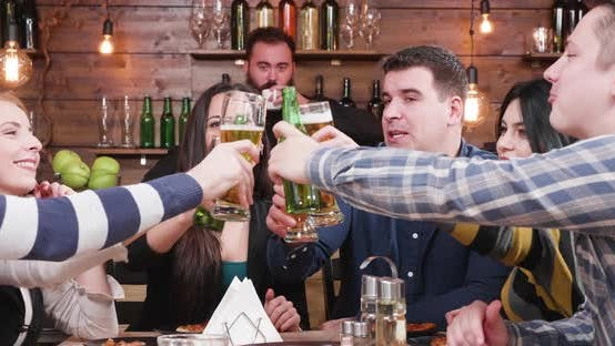 Thumbnail for Group of Beautiful Happy Friends Are Clinking Their Glasses with Beer