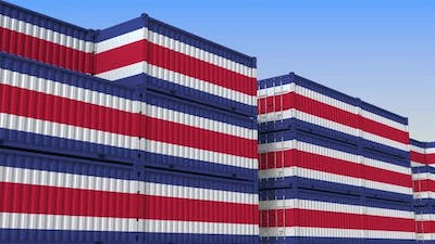 Container Terminal Full of Containers with Flag of Costa Rica