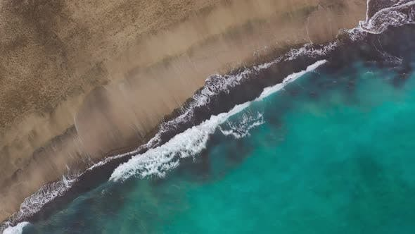 Thumbnail for Top View of the Desert Beach on the Atlantic Ocean. Coast of the Island of Tenerife. Aerial Drone