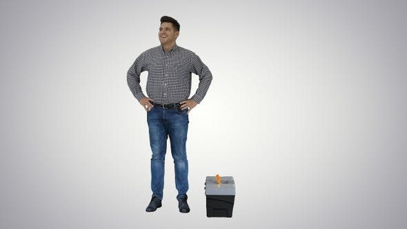 Thumbnail for Male Contraction Worker Ready for Work Casual Man With