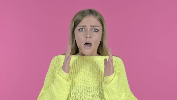 Thumbnail for Shocked Young Girl Feeling Sad, Pink Background