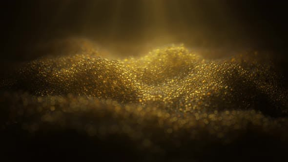 4K Abstract premium golden caviar-like particles shine on a dark background