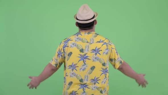 Cover Image for Rear View of Happy Young Overweight Asian Tourist Man with Arms Raised