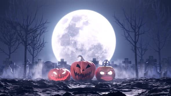 Thumbnail for Halloween Pumpkins on the Background of the Cemetery and the Moon