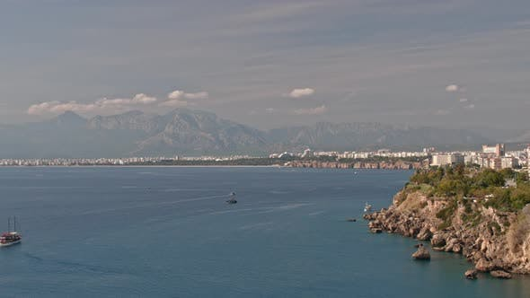 Thumbnail for Timelapse of Picturesque Seascape with Mountains and City Coast of Antalya