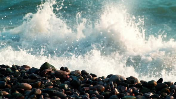 The Waves Breaking on a Stony Beach, Blue Water