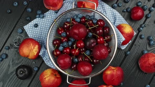 Nectarines Sweet Cherries Blueberries on a Wooden Table Autumn Fall Harvest in Summer
