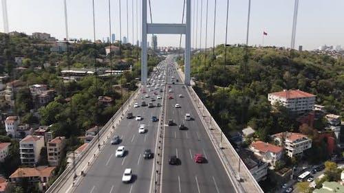 Drone Shot Istanbul Bridge