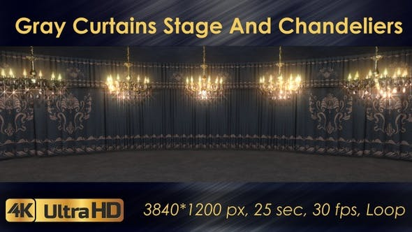 Thumbnail for Gray Curtains Stage With Chandeliers