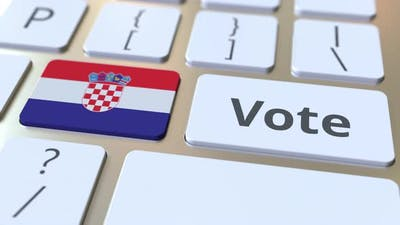 VOTE Text and Flag of Croatia on the Buttons