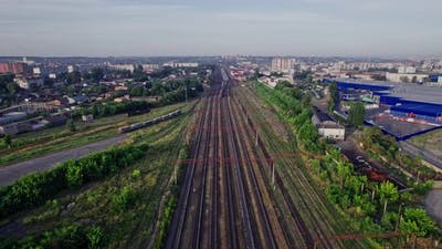Top View to a Lot of Parallel Railway Lines