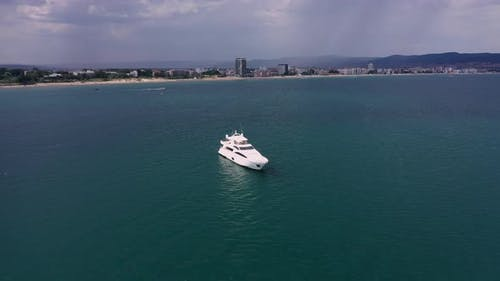 Luxury yacht in to the sea