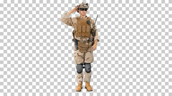 Military soldier in uniform salutes, Alpha Channel