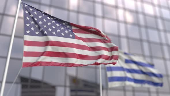 Waving Flags of the United States and Uruguay