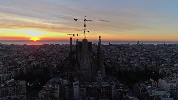 Thumbnail for Aerial View Of Barcelona City Center At Dusk