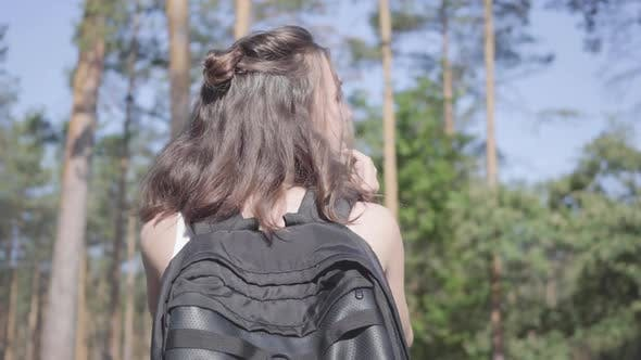 Thumbnail for Portrait Cute Young Woman Gets Lost in the Forest, She Calling for the Help. The Girl Despair, She